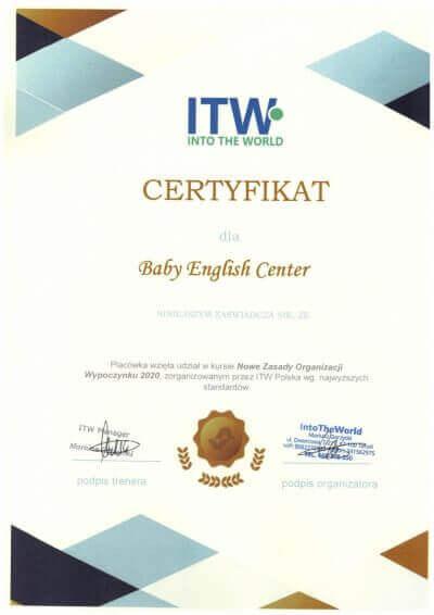 Certyfikat organizacji wypoczynku dla dzieci w Baby English Center