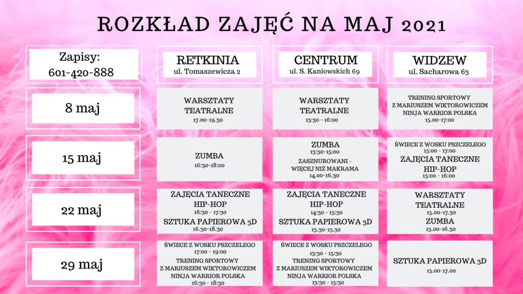 Akademia Baby English Center harmonogram warsztatów Maj 2021
