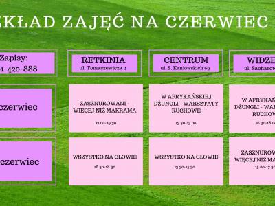 Akademia Baby English Center harmonogram warsztatów Czerwiec 2021